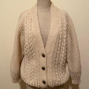 Vintage Hand Knit Cardigan Wool Sweater